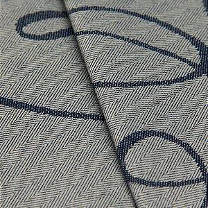 Tecido Jacquard Algodão Impermeabilizado Linhas Cinza Azul  - Pan 36