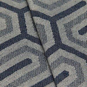 Tecido Jacquard Algodão Impermeabilizado Geometrico Cinza Azul  - Pan 37