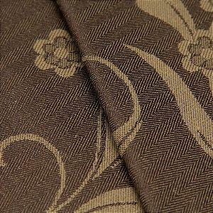 Tecido Jacquard Algodão Impermeabilizado Floral Marrom e Bege - Pan 48