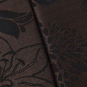 Tecido Jacquard Algodão Impermeabilizado Floral Marrom Café e Preto - Pan 52