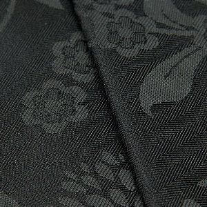 Tecido Jacquard Algodão Impermeabilizado Floral Preto e Chumbo - Pan 54