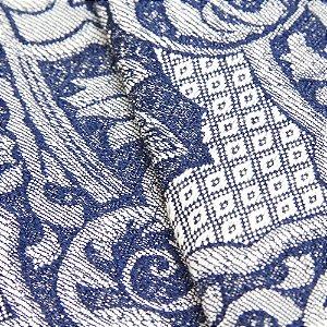Tecido Jacquard Medalhão Azul e Cinza - Marrocos 01