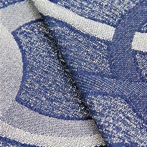 Tecido Jacquard Circulos Azul e Cinza - Marrocos 03