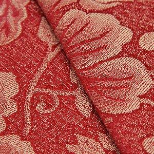 Tecido Jacquard Floral Vermelho e Creme - Marrocos 16