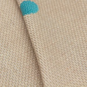Tecido algodão Jacquard Impermeabilizado Cru Escuro e Bolas Turquesa - Aus 01
