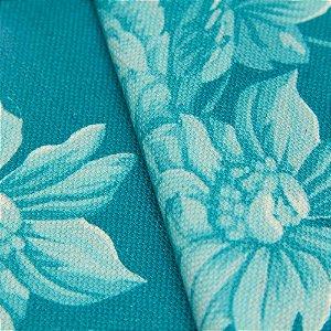 Tecido algodão Jacquard Impermeabilizado Floral Turquesa - Aus 07