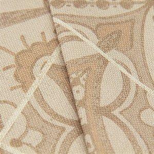 Tecido algodão Jacquard Impermeabilizado Ladrilho hidráulico Tons de Bege Escuro - Aus 17