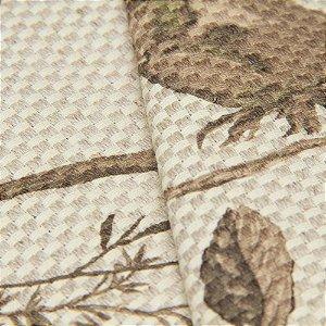 Tecido Linho Impermeabilizado Trama Cru Floral Marrom Claro - Aus 18