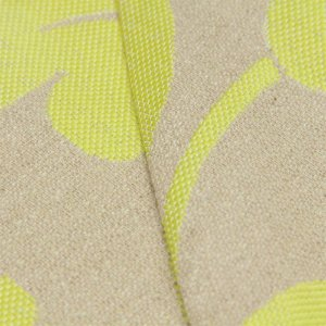 Tecido algodão Jacquard Impermeabilizado Linho Bege com Floral Amarelo Limão - Aus 21