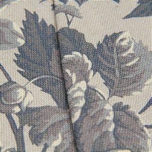 Tecido algodão Jacquard Impermeabilizado Floral Cinza - Aus 30