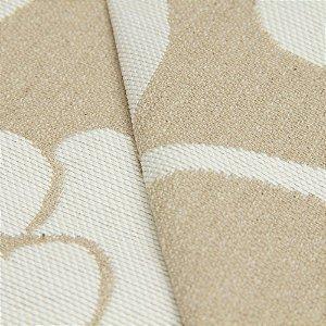 Tecido algodão Jacquard Impermeabilizado Floral Cru Escuro e folhas Brancas - Aus 36
