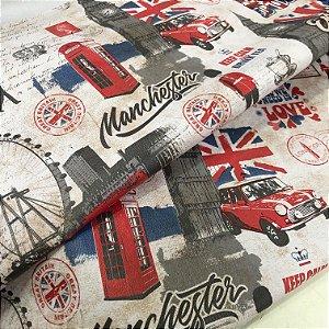 Tecido corino Vintage, Retro London, Bandeira Vermelha England