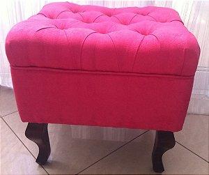 Puff modelo LUIZ XV em tecido suede Rosa Pink
