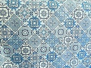 Tecido Corino Estilo Ladrilho Portugues Branco e Azul