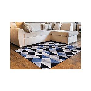 Tapete Macio Geométrico Verona-50  Azul e Preto 0,57 x 1,80