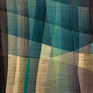 Tecido Sintético Macio Abstrato Azul, Amarelo e Verde - Ametista 04