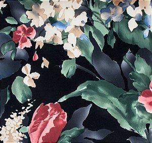 Tecido Sintético Macio Floral Preto, Vermelho e Verde - Ametista 12