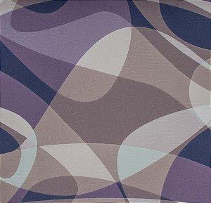 Tecido Sintético Macio Abstrato Roxo, Creme e Bege - Ametista 29