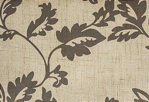 Tecido Estampado Folhas Creme e Marrom Claro - Hava 09