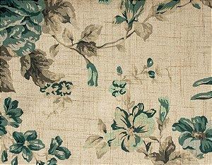 Tecido Estampado Floral Creme, Azul e Fendi - Hava 10