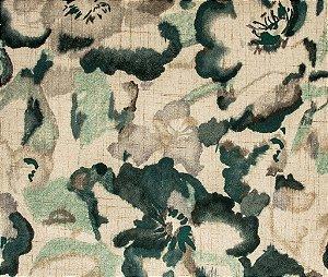 Tecido Estampado Abstrato Floral Creme e verde - Hava 11