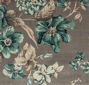 Tecido Estampado Floral Fendi e Cinza - Hava 12