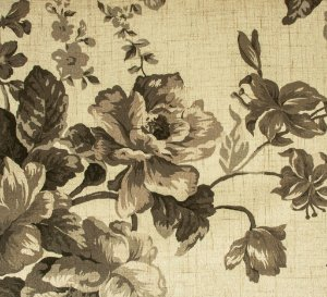 Tecido Estampado Floral Creme, Fendi e Cinza - Hava 19