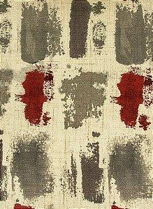 Tecido Estampado Abstrato Creme, Fendi e Vermelho - Hava 22