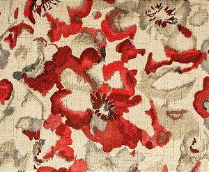 Tecido Estampado Abstrato Floral Vermelho, Rosa e Creme - Hava 24