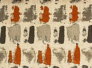 Tecido Estampado Abstrato Laranja, Creme e Fendi - Hava 28