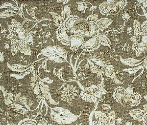 Tecido Linho Floral Areia e Branco - Hava 33