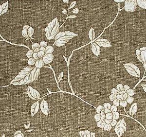 tecido Linho Folhas e Flores Areia e Branco - Hava 34