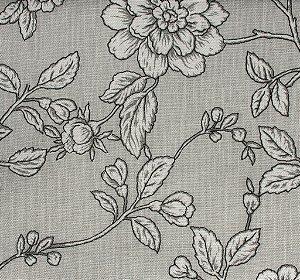 Tecido Linho Folhas e Flores Cinza e Branco - Hava 36