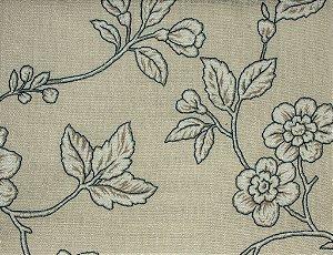 Tecido Linho Folhas e Flores Areia, Branco e Azul - Hava 38