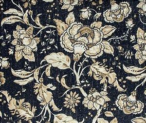 Tecido Linho Floral Jeans Areia e Creme - Hava 39