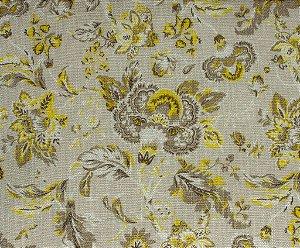 Tecido Linho Floral Amarelo, Creme - Hava 41