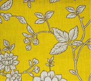 Tecido Linho Folhas Flores Amarelo, Creme - Hava 42