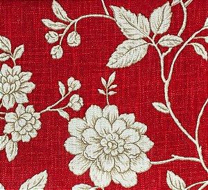 Tecido Linho Folhas e Flores Vermelho e Branco - Hava 46
