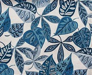 Tecido Gold Folhas Azul e Cinza - Hava 51