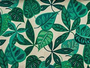 Tecido Gold Folhas Verde e Champanhe - Hava 54