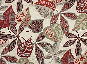 Tecido Gold Folhas Vermelho, Vinho e Fendi - Hava 62