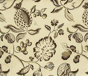 Tecido Veludo Folhas Fendi e Creme - Hava 65