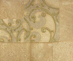 Papel de Parede Moda Em Casa Bege, Dourado com Quadrados e Glitter - 7133