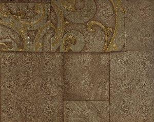 Papel de Parede Moda Em Casa Cappuccino, Dourado com Quadrados e Glitter - 7137