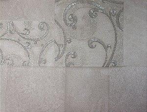Papel de Parede Moda Em Casa Areia, Prata com Quadrados e Glitter - 7132
