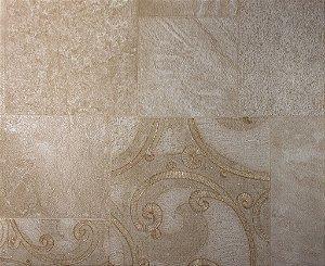 Papel de Parede Moda Em Casa Areia, Dourado com Quadrados e Glitter - 7131