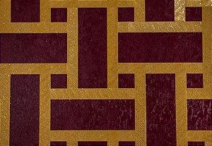 Papel de Parede Moda Em Casa Bordô, Dourado com Glitter - 7186