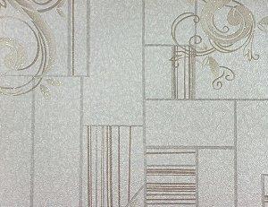 Papel de Parede Moda Em Casa OffWhite, com Linhas Bege e Glitter - 7112