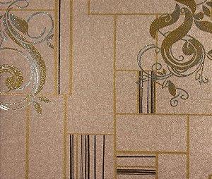 Papel de Parede Moda Em Casa Bege Escuro, Dourado e Prata com Glitter - 7116