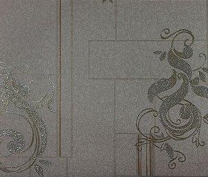 Papel de Parede Moda Em Casa Areia, Prata com Glitter - 7113